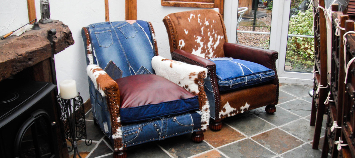 Chairs Denim and Cowhide 2