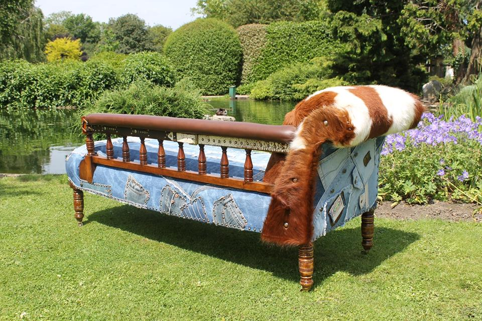 Chaise Denim and cowhide 2