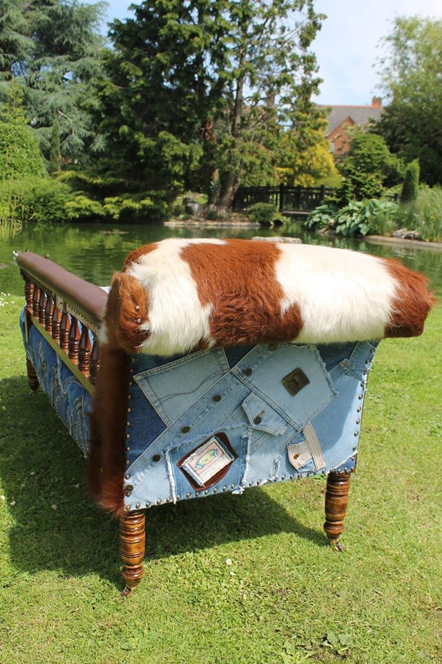 Chaise Denim and cowhide 3