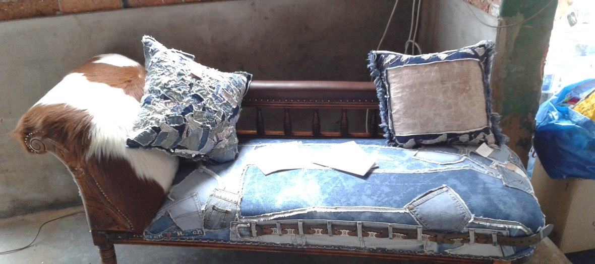Caption denim chaise